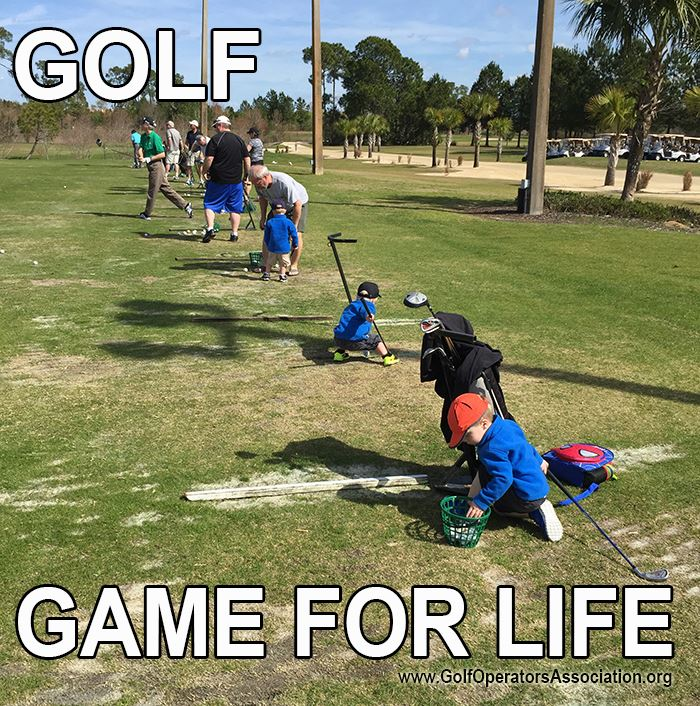 Small children on the practice tees of a golf course with the caption - Golf, Game for Life.