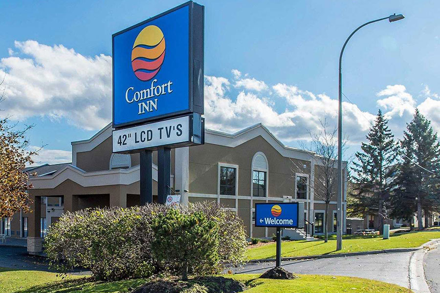 Comfort Inn on Kent Blvd. in Brockville, Ontario Canada. Exterior photo of the entrance to the inn.