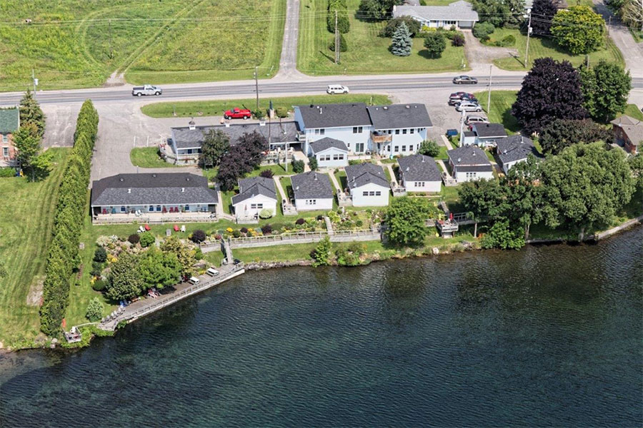 Aerial photograph of Dewars Inn and Cottages in Prescott Ontario Canada.
