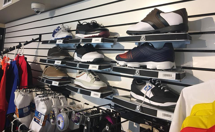 Various shoes for sale at the Prescott Golf Club - Golf Shop.