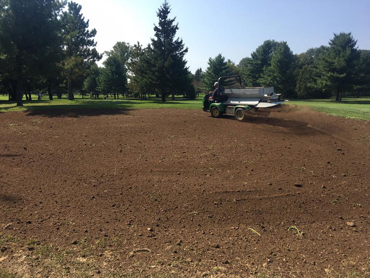 Seeding the fairway at the Prescott Golf Club.